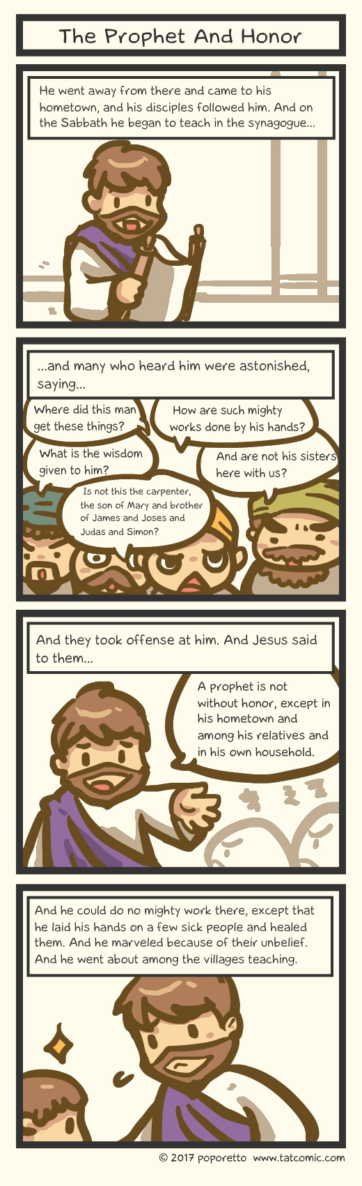 Bible comic Gospel Christian comic strip Jesus Christ and prophet without honor