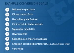 Example of Social Media Conversion Goals