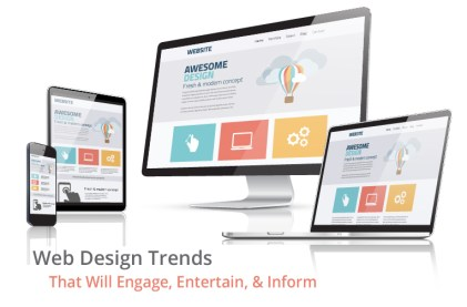 Responsive design shown on various screens