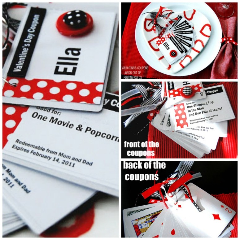 Valentine's Day Coupons Out of Playing Cards