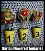 Spring Project: Burlap Flowered Topiaries