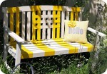 Striped Garden Bench Makeover!! {spray paint project}