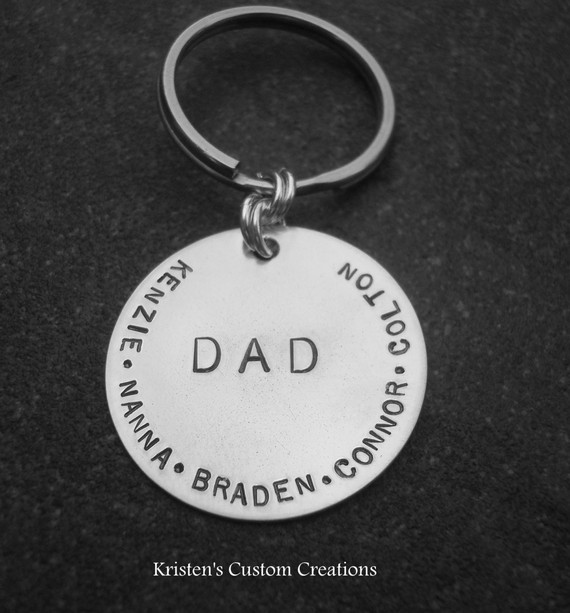 Grande Custom Hand Stamped Dad or Grandpa Keychain
