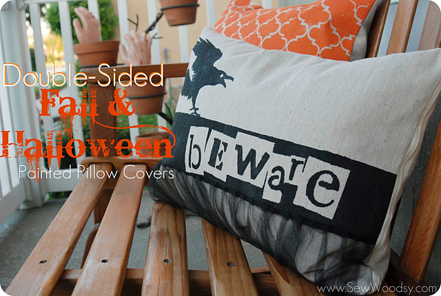 Double-Sided Fall/Halloween Painted Pillows {tutorial}