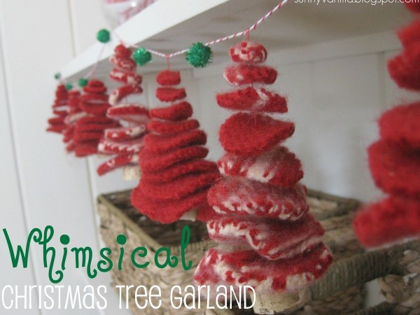 Make a Whimsical Tree Garland out of old Sweaters {Christmas Tutorial}