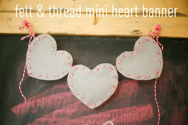 Make a Bakers Twine & Felt Mini Heart Banner (tutorial)