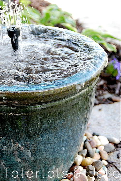 DIY Recirculation Fountain. Create a soothing fountain for your yard with just a few simple items from the hardware store. Make a soothing recirculating fountain for your home this summer!