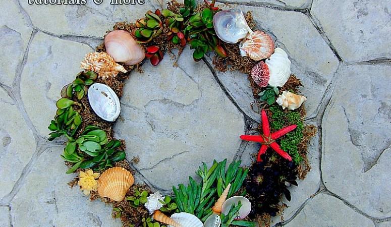 """Make a """"Beachy"""" Succulent Wreath for Less Than $20!! (tutorial)"""