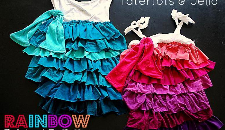 Rainbow Ruffle Shirt Refashion (tutorial)!!