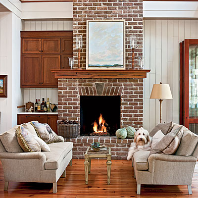 10 light and bright fireplaces that showcase the natural brick or stone. Fireplace inspiration.