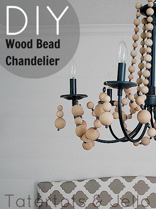 hereu0027s the wood bead chandelier - Wood Bead Chandelier