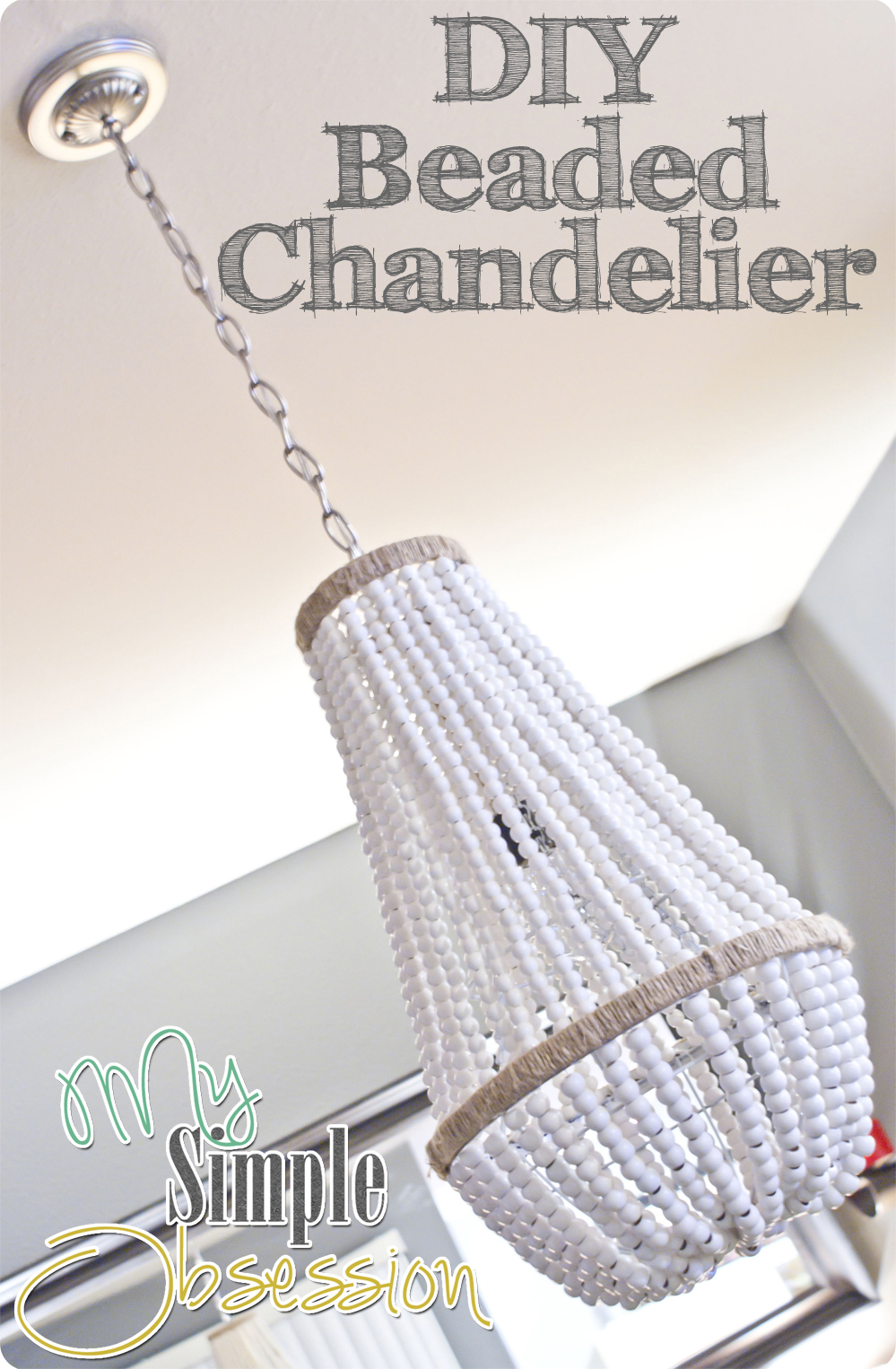 Upcycle a plain chandelier into a beaded showpiece beaded chandelier tutorial my simple obsession arubaitofo Image collections