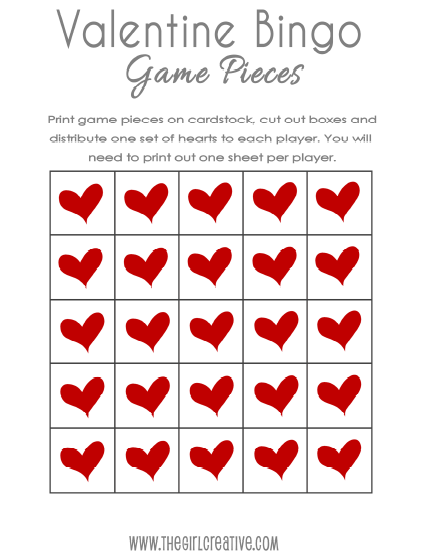 picture relating to Game Pieces Printable titled Cost-free Valentines Working day BINGO and Deal with Toppers