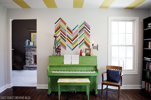 green painted piano
