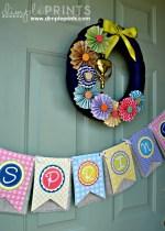 Free Printable Spring Banner, Printable Quote and Pinwheel Wreath Idea!