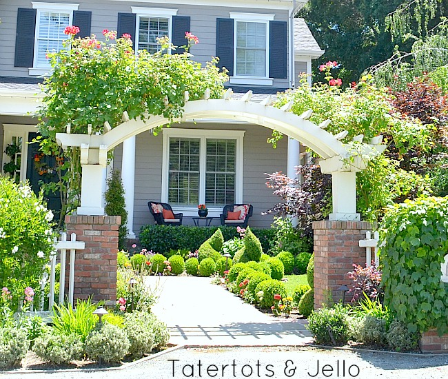 arched trellis and front walk