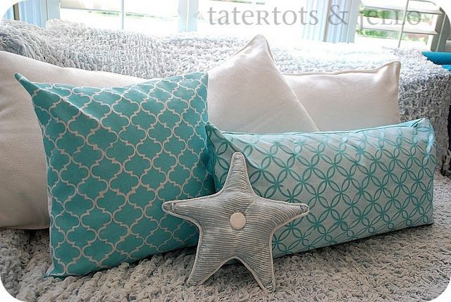 stenciled summer pillows
