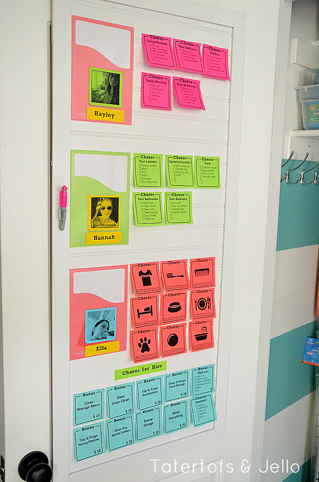 post-it note chore chart system at tatertts and jello