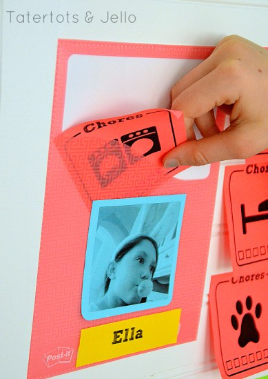 put the finished chore in the pocket chore chart system