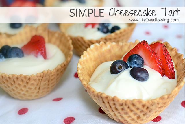 red white and blue cheesecake tart