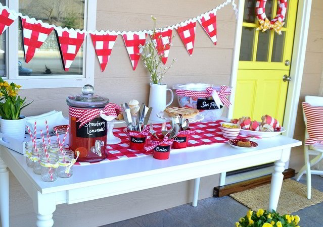 DIY Red and White Buffalo Check Painted Fabric — End of School Summer Party!