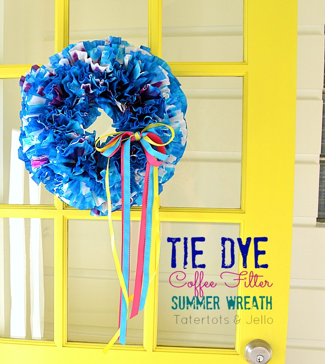 tie dye coffee filter wreath at tatertots and jello