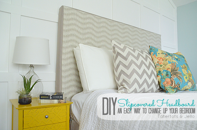 diy headboard slipcover at tatertots and jello
