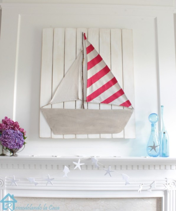 summer mantel with diy boat