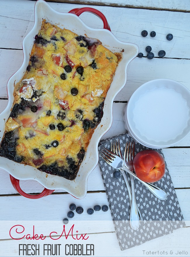 fresh fruit cake mix summer cobbler