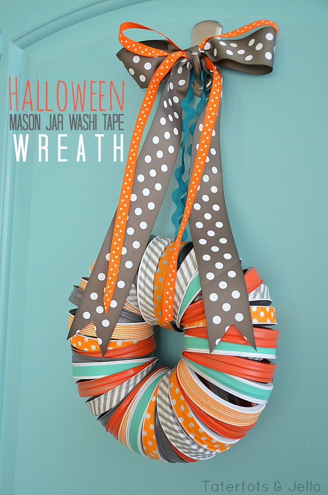 halloween mason jar washi tape wreath