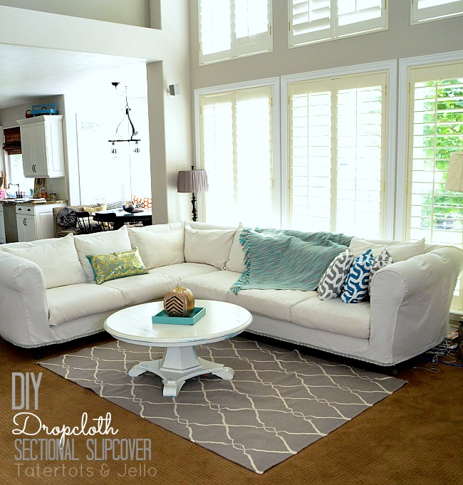 Make a Dropcloth Sofa Sectional Slipcover! - Tatertots and Jello