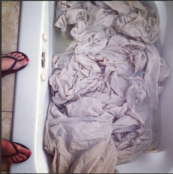 dropcloth slipcover tub