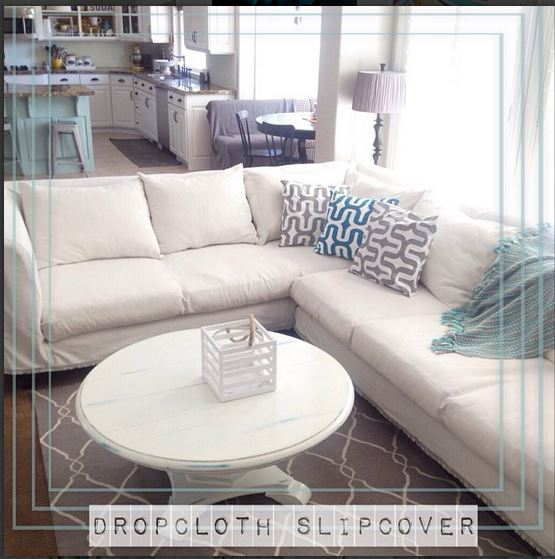 slipcovered sectional couch