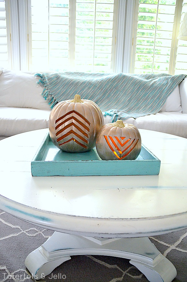 two chevron carved pumpkins