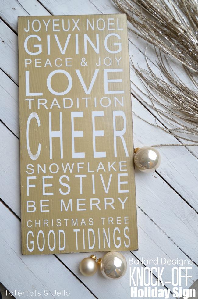 Ballard Designs Knock Off Christmas Holiday Sign at Tatertots and Jello