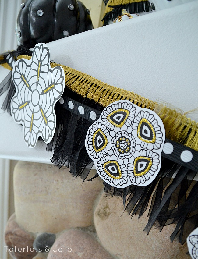 gold and black printable garland at tatertots and jello