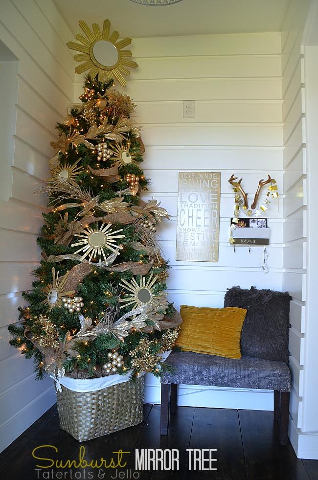 sunburst mirror christmas tree at tatertots and jello