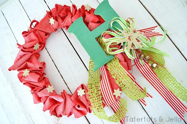 canvas ruffle wreath at tatertots and jello