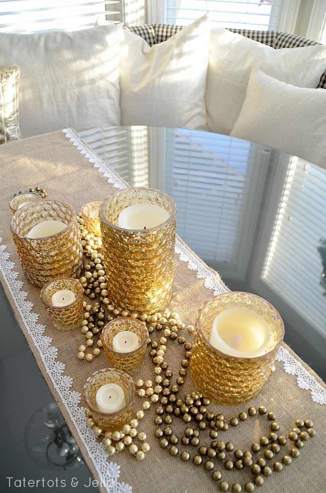 gold holiday candle centerpiece