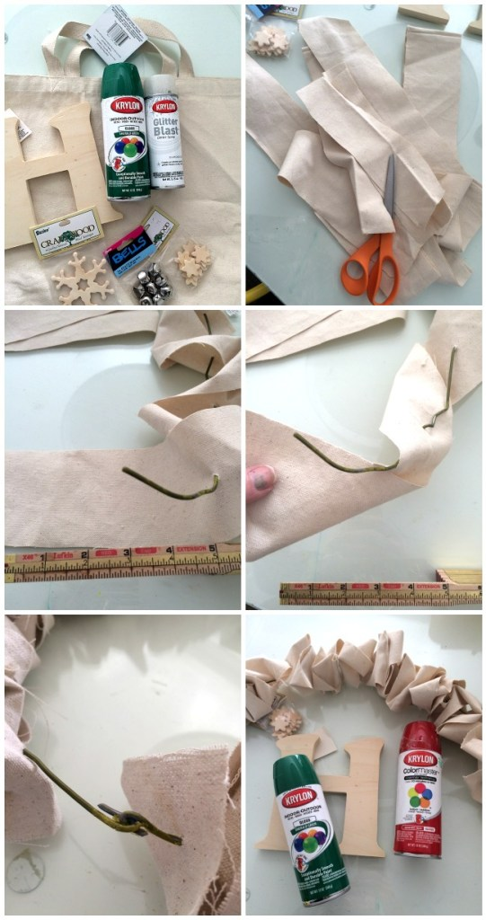 making the canvas ruffle wreath
