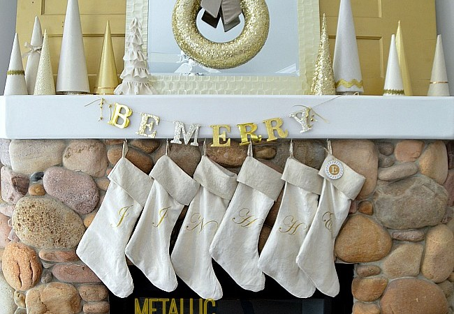 Metallic Christmas Stockings & Mantel (Plus $100 Online Fabric Store Fabric Giveaway!)
