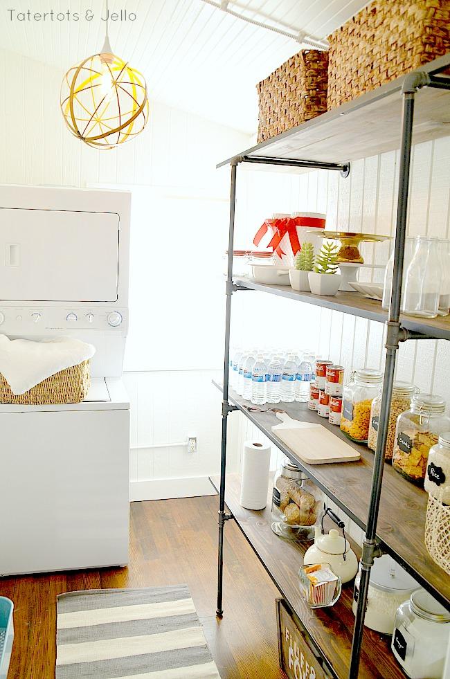 industrial shelves in the pantry DIY