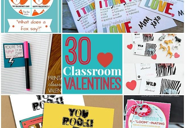 30 Free Printable Kid's Valentines!!