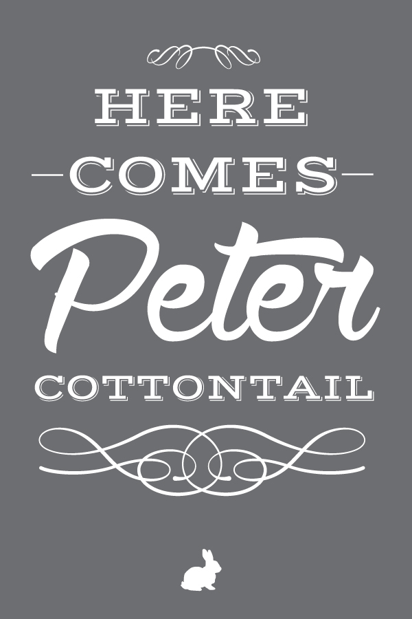 here.comes.peter.cottontail.20x30.gray