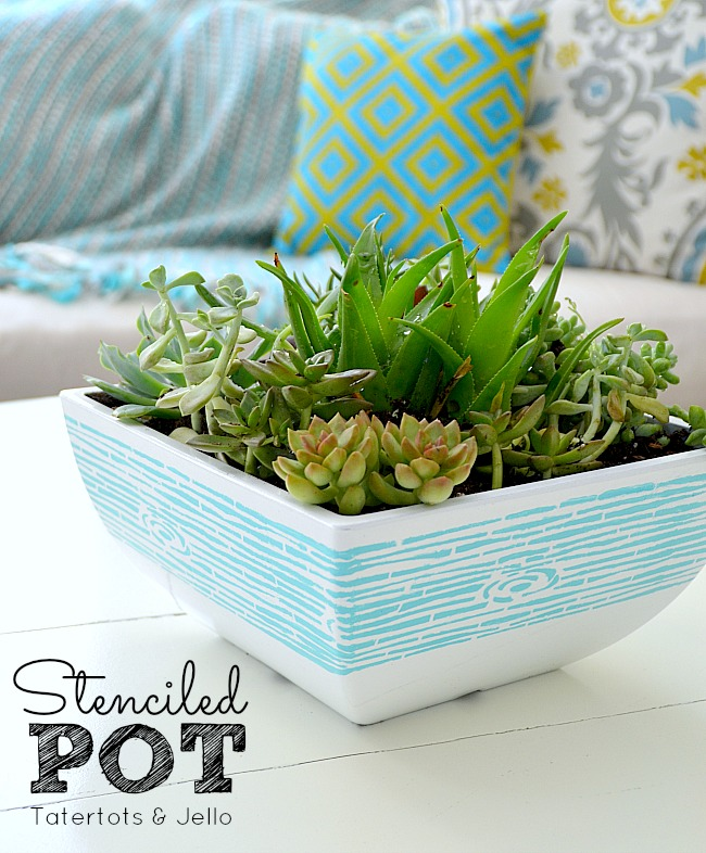 stenciled succulent pot tutorial at tatertots and jello