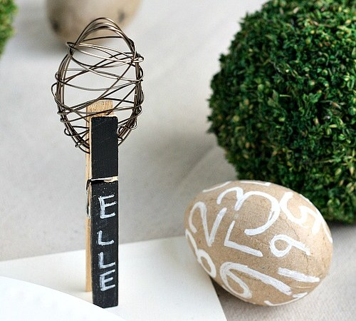 Chalkboard Place Cards with DIY Wire Easter Eggs!!