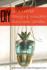 DIY Gold Leafed Hanging Insulator Succulent Garden