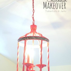 Easy Chandelier Makeover using Fabric!
