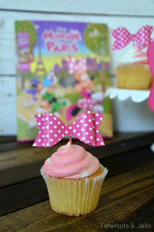 free printable bow cupcake toppers at tatertots and jello