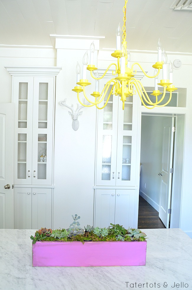 kitchen and yellow chandelier at tatertots and jello